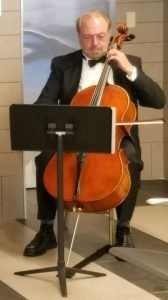 Photo of Boris playing cello at Union Station