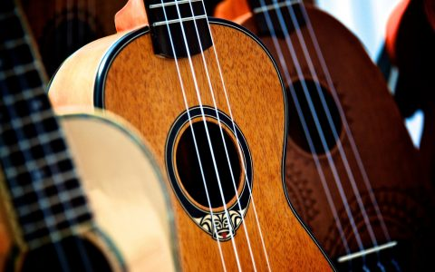 close up of guitars