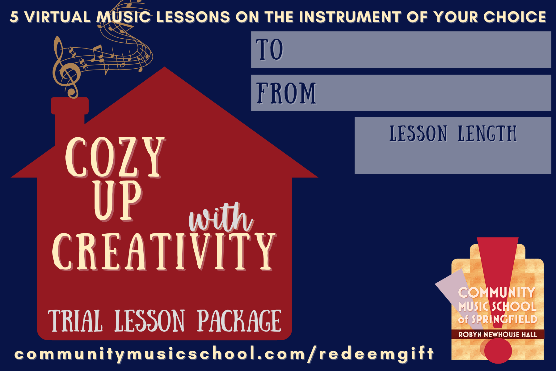 Gift package card for trial lessons, red silhouette of house with music coming out of the chimney and text on the front, blue background