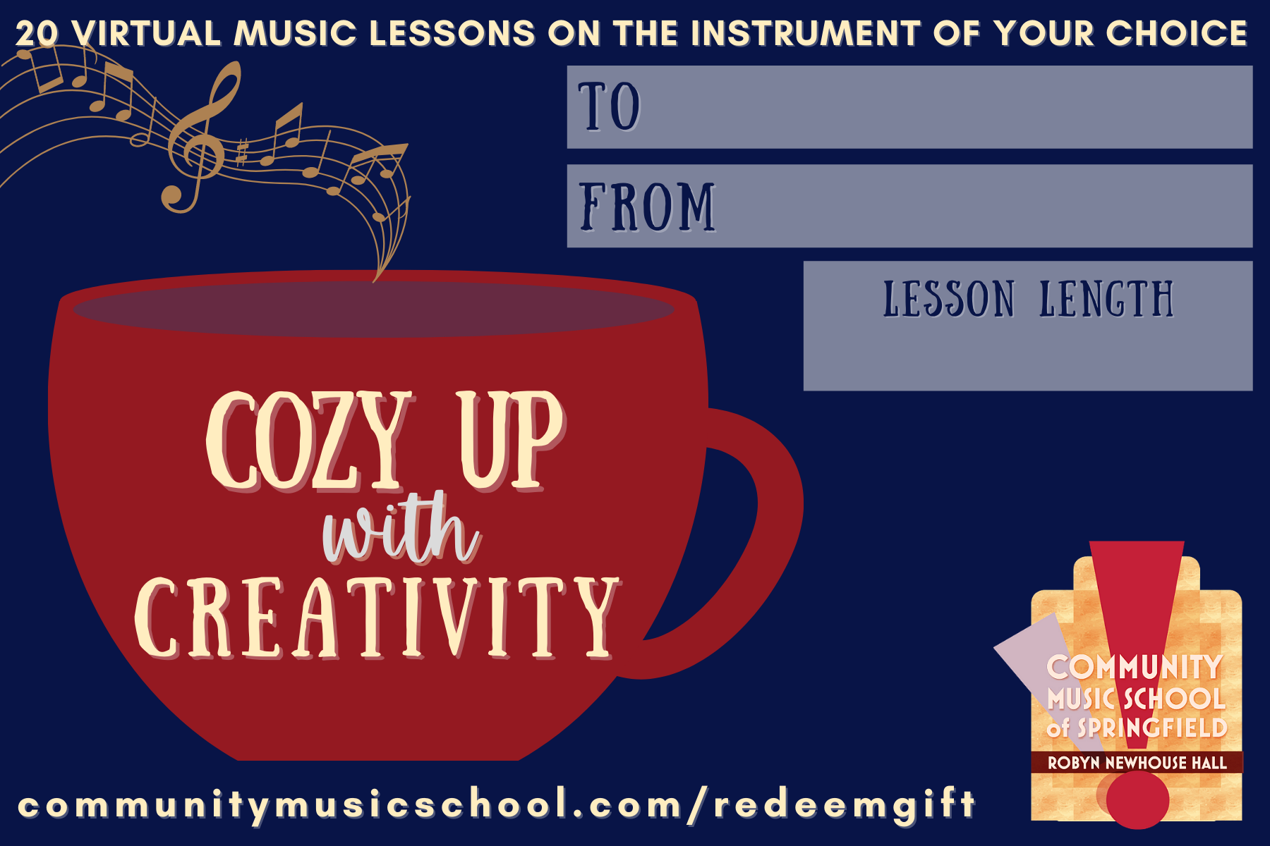 Gift package card for trial lessons, red silhouette of coffee mug with text on the front and music coming out of the top as steam, blue background